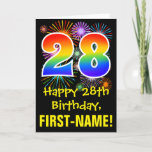 [ Thumbnail: 28th Birthday: Fun Fireworks Pattern + Rainbow 28 Card ]