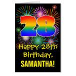 [ Thumbnail: 28th Birthday: Fun Fireworks Pattern & Rainbow 28 Card ]