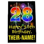 [ Thumbnail: 28th Birthday: Fun Fireworks Pattern + Rainbow 28 Gift Bag ]