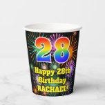 [ Thumbnail: 28th Birthday: Fun Fireworks Pattern + Rainbow 28 ]