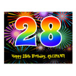 [ Thumbnail: 28th Birthday – Fun Fireworks Pattern + Rainbow 28 Postcard ]