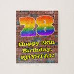 [ Thumbnail: 28th Birthday: Fun Graffiti-Inspired Rainbow 28 Jigsaw Puzzle ]
