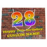 [ Thumbnail: 28th Birthday: Fun, Graffiti-Inspired Rainbow # 28 Gift Bag ]