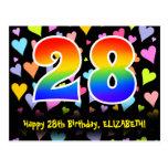 [ Thumbnail: 28th Birthday: Fun Hearts Pattern, Rainbow 28 Postcard ]