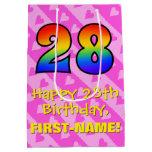 [ Thumbnail: 28th Birthday: Fun Pink Hearts Stripes; Rainbow 28 Gift Bag ]