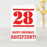 [ Thumbnail: 28th Birthday: Fun, Red Rubber Stamp Inspired Look Card ]