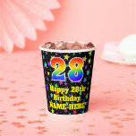 [ Thumbnail: 28th Birthday: Fun Stars Pattern and Rainbow 28 ]