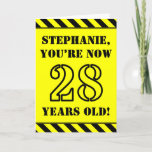[ Thumbnail: 28th Birthday: Fun Stencil Style Text, Custom Name Card ]