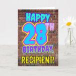 [ Thumbnail: 28th Birthday - Fun, Urban Graffiti Inspired Look Card ]