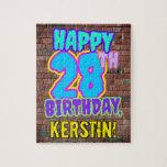 [ Thumbnail: 28th Birthday ~ Fun, Urban Graffiti Inspired Look Jigsaw Puzzle ]