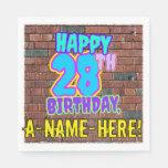 [ Thumbnail: 28th Birthday ~ Fun, Urban Graffiti Inspired Look Napkins ]