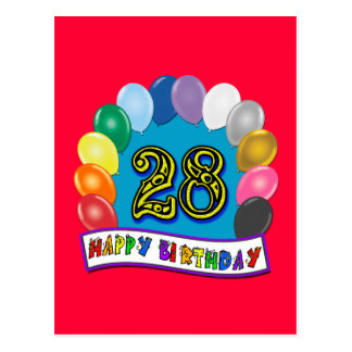 28th Birthday Gifts with Assorted Balloons Design Post Card