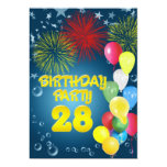 28th Birthday party Invitation with balloons