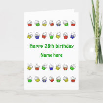 28th birthday personalized cupcakes card