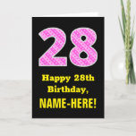 "[ Thumbnail: 28th Birthday: Pink Stripes and Hearts ""28"" + Name Card ]"
