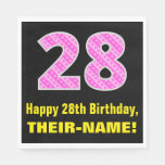 "[ Thumbnail: 28th Birthday: Pink Stripes and Hearts ""28"" + Name Napkins ]"