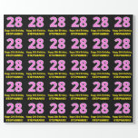 "[ Thumbnail: 28th Birthday: Pink Stripes and Hearts ""28"" + Name Wrapping Paper ]"