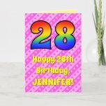 [ Thumbnail: 28th Birthday: Pink Stripes & Hearts, Rainbow # 28 ]