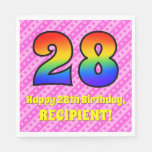 [ Thumbnail: 28th Birthday: Pink Stripes & Hearts, Rainbow # 28 Napkins ]