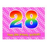 [ Thumbnail: 28th Birthday: Pink Stripes & Hearts, Rainbow 28 Postcard ]