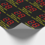 """[ Thumbnail: 28th Birthday: Red Digital Clock Style """"28"""" + Name Wrapping Paper ]"""