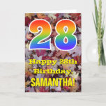 "[ Thumbnail: 28th Birthday; Rustic Autumn Leaves; Rainbow ""28"" Card ]"