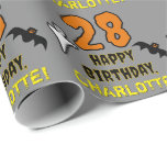 [ Thumbnail: 28th Birthday: Spooky Halloween Theme, Custom Name Wrapping Paper ]