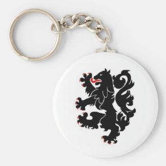 28th inf black lions basic round button keychain