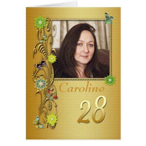28va cuarta tarjeta de cumpleaños de la foto del