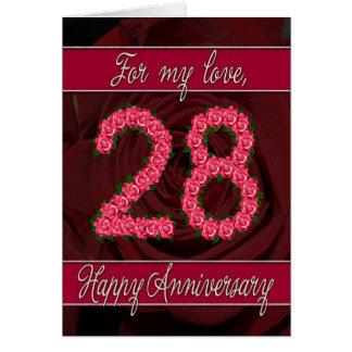 28va cuarta tarjeta del aniversario con los rosas