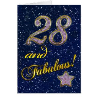 28vo cuarto cumpleaños para alguien fabuloso tarjeta de felicitación
