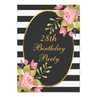 """28vo cuarto El blanco negro floral del cumpleaños Invitación 5"""" X 7"""""""