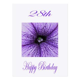 28vo cuarto flor feliz de la púrpura del postal