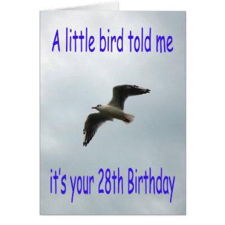 28vo cuarto pájaro feliz de la gaviota del vuelo tarjeta de felicitación
