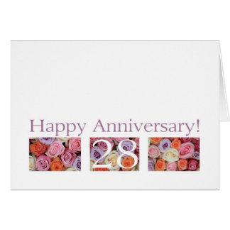 28vo cuarto Rosas del pastel de la tarjeta del ani