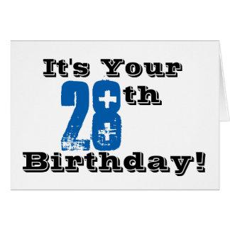 28vo cuarto saludo del cumpleaños en negro, azul, tarjeta de felicitación