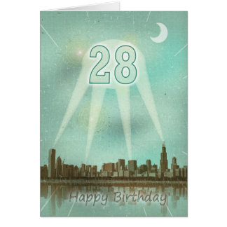 28vo cuarto Tarjeta de cumpleaños con una ciudad y