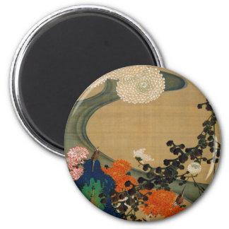 29. 菊花流水図, 若冲 Chrysanthemum & Stream, Jakuchū 2 Inch Round Magnet