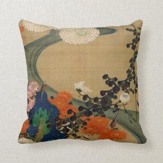 29. 菊花流水図, 若冲 Chrysanthemum & Stream, Jakuchū Throw Pillow