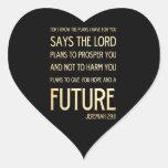 29:11 cristiano de Jeremiah del arte del verso de Calcomanías De Corazones