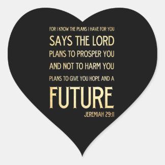 29:11 cristiano de Jeremiah del arte del verso de Pegatina En Forma De Corazón