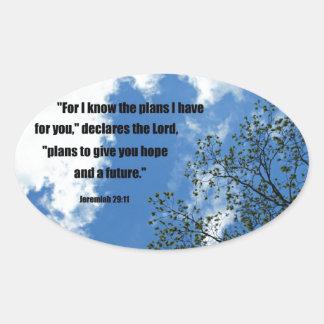 29:11 de Jeremiah para mí sé los planes que tengo Pegatina Ovalada