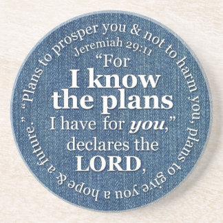 29:11 de Jeremiah sé el dril de algodón del verso  Posavasos De Arenisca