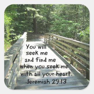 29:13 de Jeremiah Pegatina Cuadrada