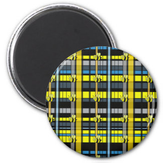 29.Black and Yellow Plaid Bumble Bees Design Magnet