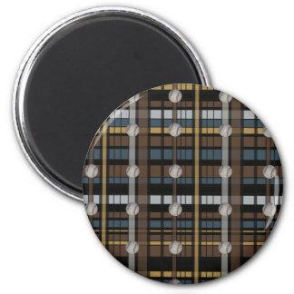 29. Brown Black Gray Plaid Baseball Design 2 Inch Round Magnet
