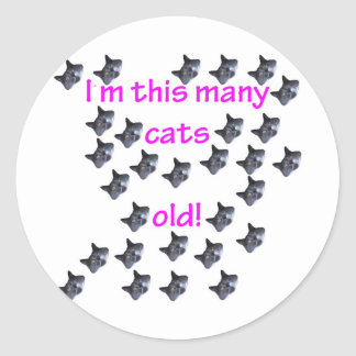 29 Cat Heads Old Round Stickers