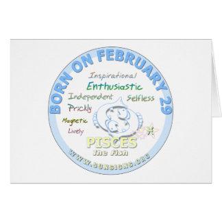 29 de febrero cumpleaños - Piscis Tarjeta De Felicitación