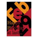 29 de febrero tarjeta del feliz cumpleaños