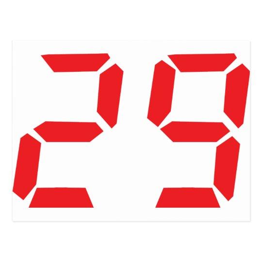 29 twenty-nine red alarm clock digital number postcard